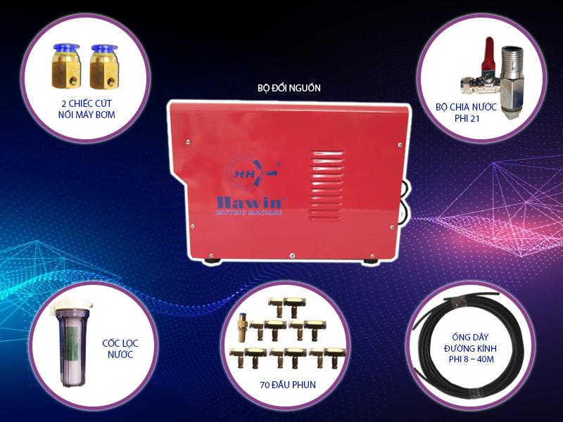 Bộ máy phun sương 2703 70 béc cấu tạo đơn giản, dễ dàng sử dụng