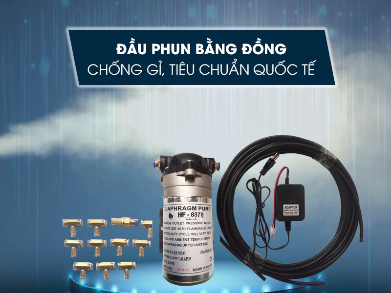 Bộ máy phun sương mini HF-8379 10 béc chất lượng quốc tế độ bền cao