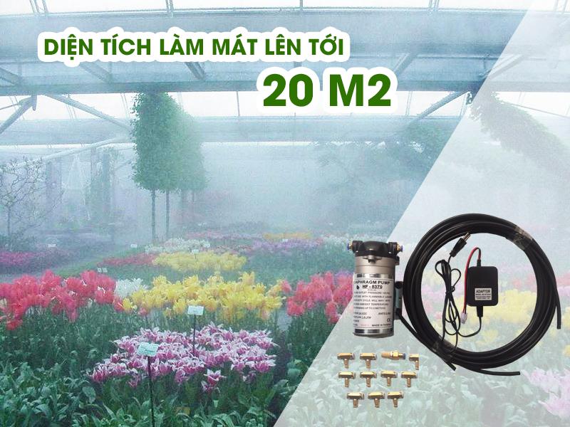 Bộ máy phun sương mini HF-8379 10 béc có khả năng phun tỏa diện rộng
