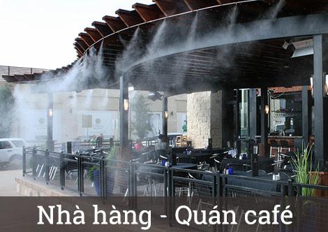 máy phun sương quán cafe ngoài trời