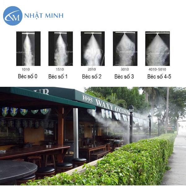 Béc phun máy phun sương với các kích thước cho tia sương khác nhau